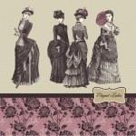 Elegant vintage ladies — Stock Vector