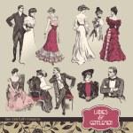 Ladies and gentlemen 19th century fashion — Stock Vector