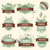 Set of Natural Premium Quality Labels — Vector de stock