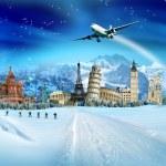 旅行-寒假、 世界纪念碑和山 — 图库照片
