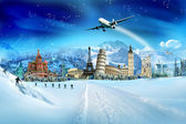 Travel - winter vacation, world monuments and mountains — Stock Photo
