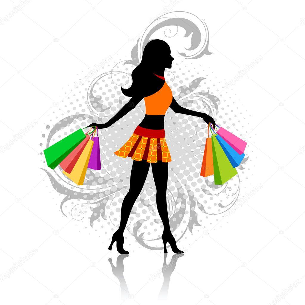 Girl with shopping bags — Stock Vector © nata-art #6770429
