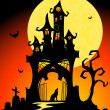 Halloween castle. — Stock Vector