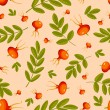 Rose hip seamless beige pattern. — Stock Vector