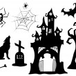 Set of halloween silhouettes. — Stock Vector