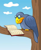 Cartoon raven and book. — Stock Vector