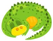 Small cartoon dragon sleep. — Stock Vector