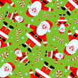 Stock Vector: Seamless santas pattern on green.
