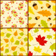 Stock Vector: Four autumn seamless patterns