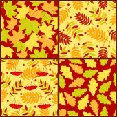 Four autumn seamless patterns — Stock Vector
