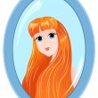 Girl in a mirror on white. — Stock Vector