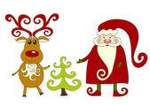 Santa, reindeer and tree. — Stock Vector