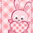 Valentine's card. Baby rabbit. — Stock Vector