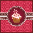 Stock Vector: Christmas cupcake on doily.