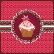 Christmas cupcake on the doily. — Stock Vector
