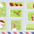 Postage stamp Christmas collections. — Stock Vector