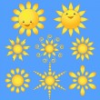 Set cartoon sun. - Imagen vectorial
