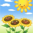 Sun and sunflowers. — Stock Vector