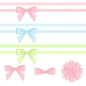 Pastel ribbon and bow collection. — Stock Vector