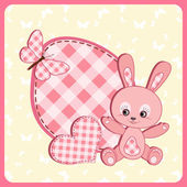 Baby arrival card. Rabbit. — Stock Vector
