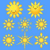 Set cartoon sun. — Stock Vector
