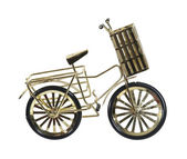 Golden Bicycle with Basket — Stock Photo