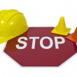 Stock Photo: Stop Sign with Hard Hat and Safety Cones