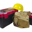 Toolboxes Tool Belt and Hard Hat — Stock Photo