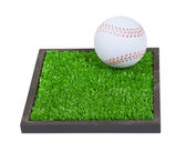 Baseball on a Square of Grass — Stock Photo