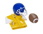 Letterman Jacket Football Helmet and Football — Stock Photo