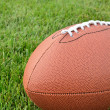 Close-up of an American Football on Grass Field — Foto Stock