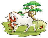 Mythical Unicorn in the enchanted forest — Stock Photo