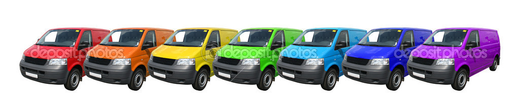 Line of seven identical variegated delivery vans — Stock Photo #6807033