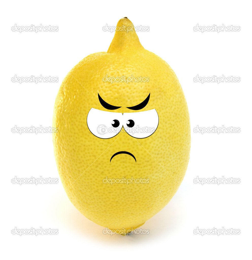 Angry lemon isolated over white background — Stock Photo #7628971