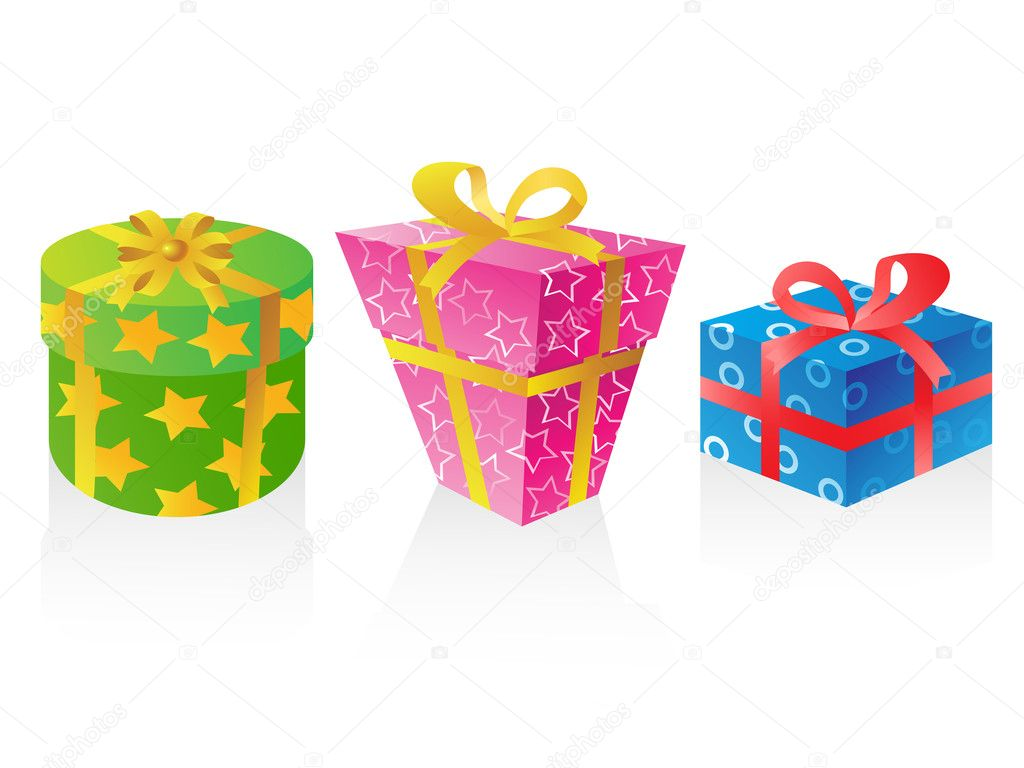 Isolated cute gift boxes vector on white background — Stock Vector #6841676