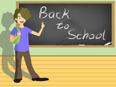 School boy with the sign of back to school on blackboard — Stock Vector