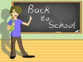 Skolan pojke med tecknet för tillbaka till skolan på blackboard — Stockvektor