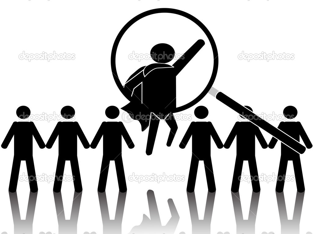 The concept of superhero standing out from crowd — Stock Vector #6935622