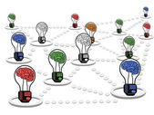 Brain light bulb net work — Stockvector