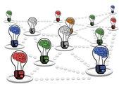Lavoro di rete lampadina di cervello — Vettoriale Stock
