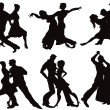 Stock Vector: Silhouettes of ballroom dancers