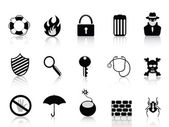 Conjunto de iconos de seguridad negro — Vector de stock