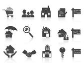Black real estate icon — Stock Vector