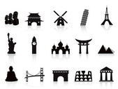 Black landmark icons — Stock Vector