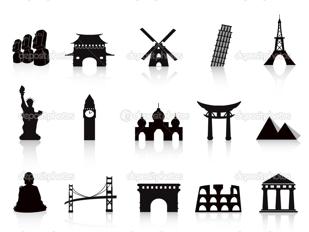 Black landmark icons for travel design  Stock Vector #7397272