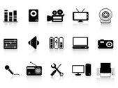 Black audio, video and photo icons — Stock Vector