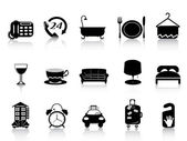 Black hotel icons — Stock Vector