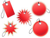 Set of red tags — Stock Vector