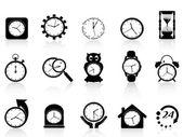 черный часы икона set — Cтоковый вектор