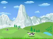 Bergslandskap och betesmark — Stockvektor